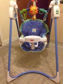 Fisherprice swing, 6 swing speeds, 10 nursery rhymes!!