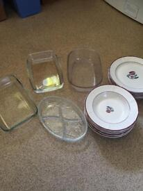 Large plate soup plate bodum coffee maker and 4 pyrex