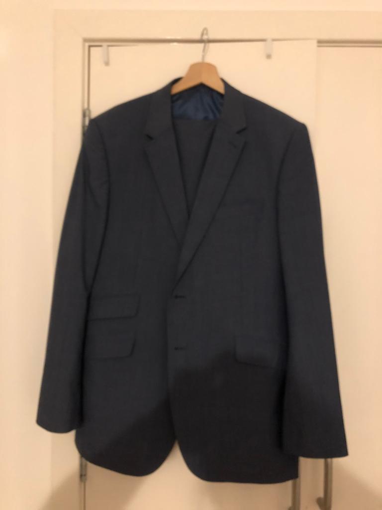 "Men's Steel Blue Marks & Spencer's suit 44""(LG) Jacket/38"" Waist 31"" Leg Trousers"