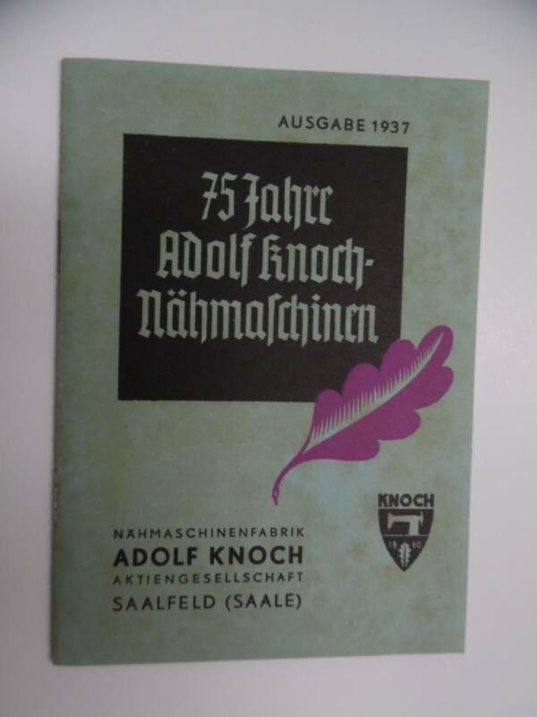 1937 Adolf Knoch Sewing Machine Catalog Nähmaschine Saale Germany Vintage RARE