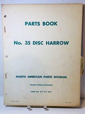 Original 1957 Massey Ferguson Mf35 Disc Harrow Parts Manual Book