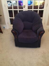 Navy armchairs (x2) Excellent condition. Pet and smoke free home. Collection only