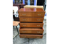 Attractive Mid Century Vintage Teak Tallboy Chest of 5 Drawers 1960's
