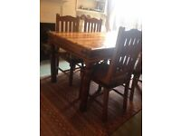 Rustic Solid Wood Dining Table and 4 Chairs