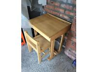 Solid pine child desk and chair