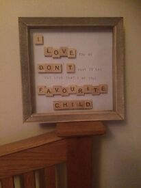 NEW NOVELTY SCRABBLE FRAME FAVOURITE CHILD QUOTE - FUNNY MUM GIFT