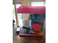 Pink fish tank aquarium wuth pump and gravel