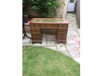 Reproduction double pedestal, leather topped writing desk