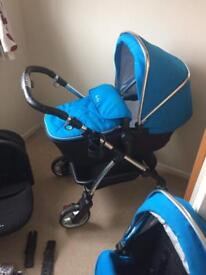 Silver cross wayferer travel system pram with isofix base and seat