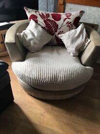 Large corner sofa and swivel cuddle chair