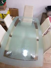 Tempered Glass Dining table for 6