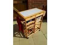 Tile top pine kitchen trolley