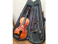 Violin 1/2 size and 3/4 size Primavera 200, both have violin cases, bow & chin rest