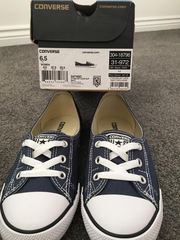 Ladies Navy Ballet Converse. Size 4.5 Brand New With Box £25