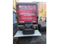 Brown leather recliner armchair £75- like new!