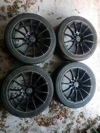 """17"""" Black Alloy Wheels with wheel nuts and tyres"""