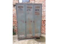 Vintage Metal Factory Storage Lockers BIG Wardrobe, Cabinet Industrial