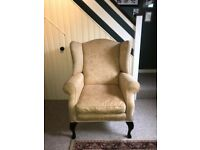 Laura Ashley Armchair Denbigh Fabric Wing Chair in Marlow Gold/Yellow Beige Wooden Feet