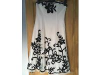 Debenhams debut dress size 10, ivory and black lace effect
