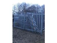 Palisade Driveway security gates 4m x 2.1m fencing galvanised heavy duty yard gates