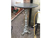 Cast iron garden table granite top