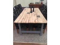 Handmade dining table & 6 dining chairs
