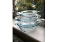 SET OF 3 GLASS CASSEROLE DISHES
