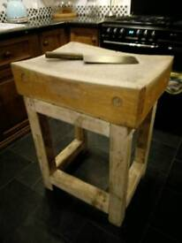 Original butchers chopping block with meat clever
