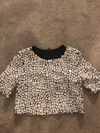 BLACK AND WHITE SEQUIN CROP TOP FROM FRENCH CONNECTION SIZE 8