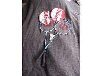 2 Wilson Badminton racquets & a shuttlecock
