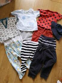 6-9 month clothes bundle trousers, tops, summer hat