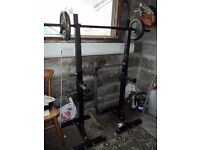 "Cast iron & Vinyl weights; bench; squat rack; Olympic 1"" bar; curl bar; £ negotiable; total ~250kg"