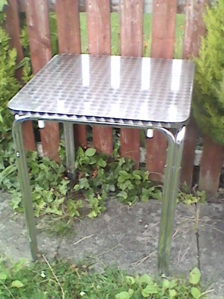Aluminium Tables x 4in Musselburgh, East LothianGumtree - ALUMINIUM TABLES X 4 Hi I have 4 Aluminium tables for sale, minor marks but nothing serious. Height 28 inches Width 23.5 inches Depth 23.5 inches I can deliver for the cost of fuel and time thanks for looking