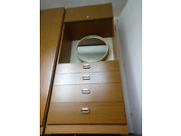 OLID WOOD DRESSING CUPBOARD AND WARDROBE 6ft GREAT CONDITION