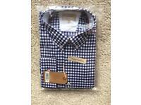 TM Lewin Shirt size L Large check blue white plaid