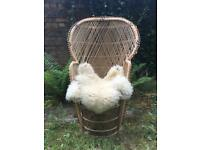 Vintage 70s Peacock Wicker/Rattan Chair.