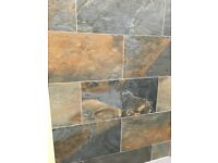 New. 33 iron ore wall / floor tiles including grout