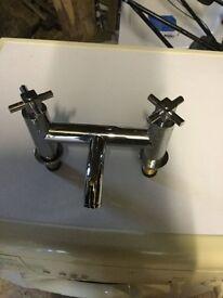 Silver mixer bath taps,