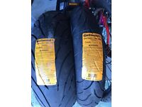A pair of brand new continental Conti Motion Motorbike tyres 180/55ZR17 120/70ZR17