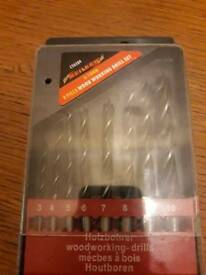 New8 piece set of pointed wood drill bits