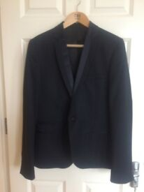 TOPMAN Navy Blue 2 Piece Suit with Satin Detail on Collar - Jacket 40, Trousers 32R