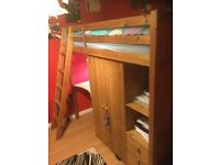Solid oak bunk bed with mattress, desk and wardrobe
