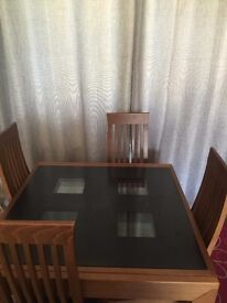 Extended Dining Table and Chair with 2 unused spare glass tops