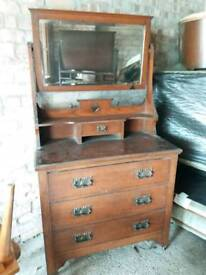 Beautiful antique wood dresser with heart detail