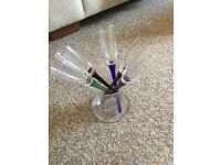 X5 coloured champagne flutes in vase - never used