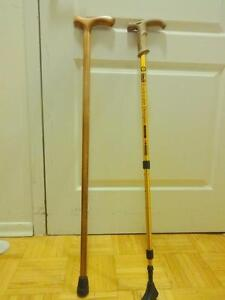 4 WALKING CANES: 1 BAMBOO (VINTAGE), 2 METAL (Ajustable) 1 CARVED WOOD; Oakville 905 510-8720 - 50% off second one