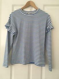 Blue and white striped H&M long sleeves top