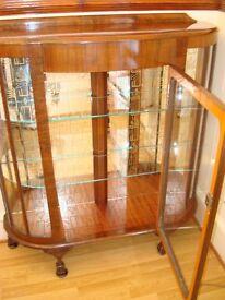 1960's Vintage China cabinet, decorative mirror gold pattern. Original key & lock. Retro Antique.