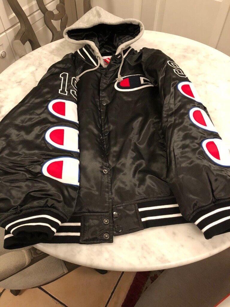 9b28bb3d7ec Supreme   Champion Hooded Satin Varsity Jacket Black Size L