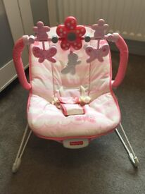 Pink Fisher Price baby bouncer
